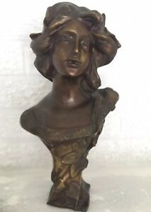 """Art Nouveau Bronze Bust Of A Girl With Flowers In Her Hair H 12"""""""
