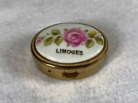 Vintage Limoges France Trinket/ Pill Box Pink Flowers - B456