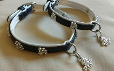 BBD Diamante Paw Dog Collar or Lead Set xxs xs small size Black faux leather