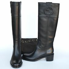 GUCCI New sz 38.5 - 8.5 Auth Designer Riding Womens GG Logo Shoes Boots black