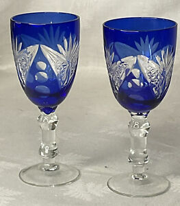 2 QUALITY VINTAGE RETRO DEEP CUT BLUE GLASS WINE SHERRY CRYSTAL WHITE COCKTAIL