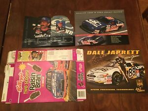 AUTOGRAPH NASCAR DALE JARRETT 88 UPS Post Card FORD QC Raisin Bran Cereal Box