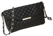 Quilted Black Faux Leather Gold/silvChain Cross Body Handbag Vintage Evening Bag