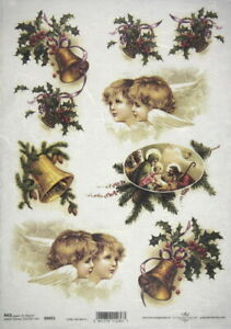 A/4 Rice Paper for Decoupage, Scrapbooking Sheet - Christmas Bells