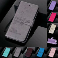 For Samsung S10 S9 S8 S7 S6 Couple Owl Leather Flip Stand Card Wallet Case Cover