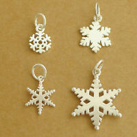 Solid 925 Sterling Silver Hollow-out Snowflake Necklace Bracelet Charm Pendant