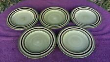 Set of 5 Laurie Gates CAMBRIA Green Brown Green Rings Salad Plates 9 5/8""