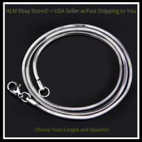 """Sterling Silver SNAKE Chain Necklace 1mm 925 Italian 16"""", 18"""", 20"""", 22"""" 24"""""""