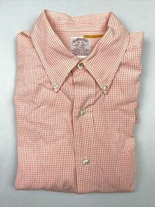 Brooks Brothers Mens 1818 Check Button Up Short Sleeve Shirt Size 16-4