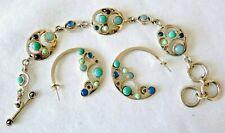 Signed BARSE Sterling Silver Bracelet Earrings Set Turquoise Blue Chalcedony