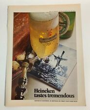 1972 Heineken Tastes Tremendous Beer Print Ad Bottle Glass Delft Tile Vintage