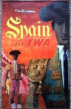 Original Travel Poster TWA David Klein Spain Lockheed Constellation Vintage 1956