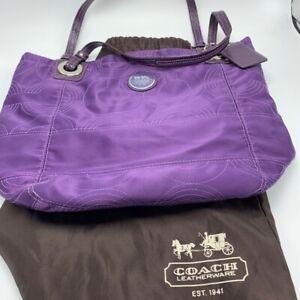 Coach Tote Bag Op Art Alex Purple Satin Patent Leather with Dust Bag