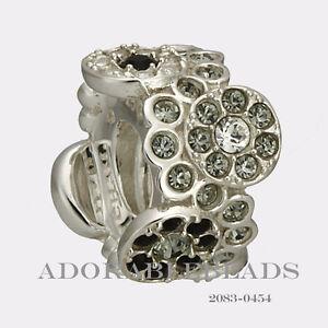 Authentic Chamilia Sterling Silver Black & White Daisy Bouquet Bead 2083-0454