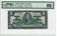 Canada $1 Dollar Banknote 1937 BC-21d PMG GEM UNC 66 EPQ