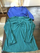 Womens A Pea In The Pod Maternity Shirts Size Small Lot Of 2 Green Purple