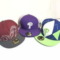 New Era Lot (3) MLB Philadelphia Phillies 7 5/8 Fitted Hats Barely Worn Unique