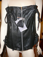 New w/tag Elegant Moments Genuine Leather Black Zip Front Corset 42 High Quality