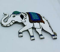 SIAM VINTAGE THAILAND STERLING SILVER GUILLOCHE WHITE ENAMEL ELEPHANT PIN