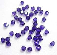 24 PURPLE VELVET SWAROVSKI  # 5301 BICONE BEADS 4MM