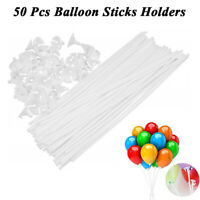 50Pcs Plastic Balloon Sticks Holders and Cups for Birthday Wedding Party Decor