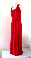 Womens Red sz 10 Cotton Spandex Racer Back Belt Dress Maxi