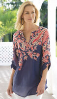 Soft Surroundings 3/4 Sleeve Navy Blue Paisley Paradise Top Women's M?
