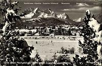 Krün Bayern s/w AK 1970 Gesamtansicht im Winter Blick gegen die Zugspitzgruppe