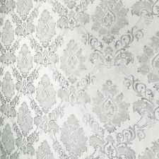 Wallpaper textured Victorian damask white ivory metallic 3D wall coverings rolls