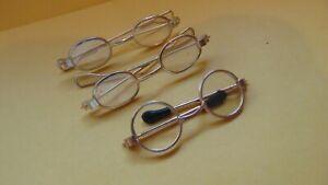 "3 Pair Doll or Teddy Bear Glasses 1 Pair Has No Lens -2 Pair is 2 1/8""-Has Lens"