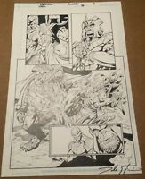 SIGIL #36 original art WICKED COOL HALF SPLASH BATTLE PAGE, 2003 CROSSGEN SIGNED