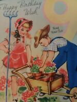 1940s Vtg Gardening GIRL & BOY 9th BIRTHDAY GREETING CARD
