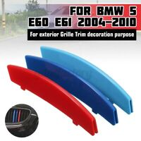 3x Sport Front Kidney Grille M Sport Strips Cover Clip For BMW 5 Series E60
