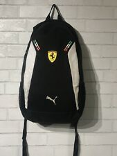Ferrari PUMA Backpack White Black Scuderia & Cat Logo Fanware Racing Bag