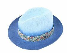 $125 Raffaello Bettini Bloomingdales Straw  Hat Indigo Size Medium Italy