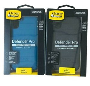 """Otterbox Defender Pro Case + Holster for iPhone X & iPhone XS (5.8"""") Black Blue"""