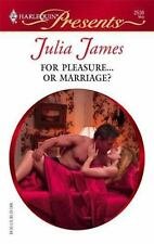 For Pleasure...Or Marriage?, James, Julia, 0373125364, Book, Acceptable