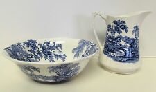 """ALFRED MEAKIN """"TONQUIN"""" PITCHER & BOWL SET STAFFORDSHIRE ENGLAND BLUE & WHITE"""