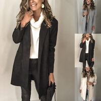 Women Fashion Long Sleeve Blazer Parka Trench Coat Jacket Outwear Cardigan Ne@