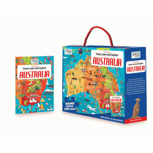 Sassi Travel, Learn and Explore - Puzzle and Book Set - Australia, 205 pcs 6+