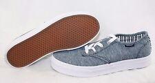Girls Youth Kids Juniors Vans Camden Stripe Denim Blue White Sneakers Shoes
