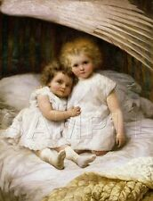 GUARDIAN ANGEL WINGS SISTERS CHILDREN BEDTIME RELIGIOUS VINTAGE CANVAS ART PRINT