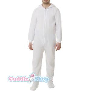 White Fleece Adult All In One Footed Pyjamas Ladies/Mens/Unisex Jumpsuit