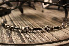 Handmade Black Onyx ' Greek ' Style Sterling Silver Bracelet