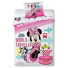 Copripiumino Cotone Singolo 160x200+70x80 Cm Disney Minnie Topolina Traveler
