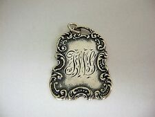 Vintage T. Foree Victorian Pendant Sterling Silver - Monogramed