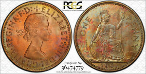 NQC 1961 1D Great Britain S-4157 PCGS MS 65 RB (Tone Colors) None Graded Higher