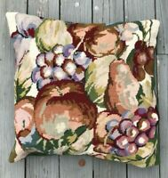 Vintage Grape Apple Pear Harvest Needlepoint Pillow Wool Throw Sofa Tapestry