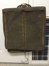 "Hartmann 22"" Belting Leather & Brown Tweed Rolling Garment Bag Suitcase Case"
