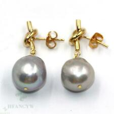 14-15mm Gray Baroque Pearl Earrings 18k Ear Stud Cultured Luxury Natural Party